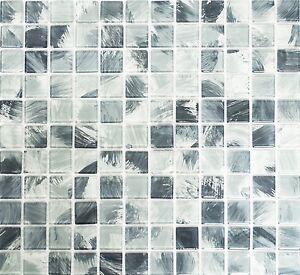 Mosaico piastrella vetro miscela grigio muro cucina bagno: 64-0210_b ...