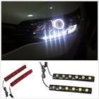 2 Pcs Car White 6 LED Angel Tears Daytime Running Light DRL Fog Soft Lamp Strip
