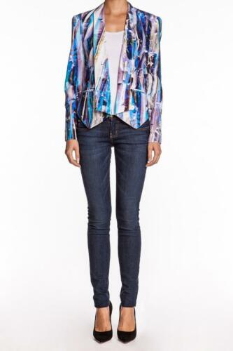 Rebecca Minkoff Becky Jacket Multi Cropped Silk Blazer Blue White Purple Casual
