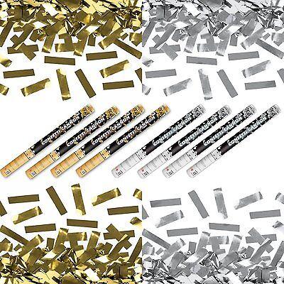 XXXL (80 cm) 4x Silber- & 4x Goldregen im 8er Set Konfettikanone Konfetti Kanone