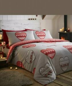 Lomond Double Duvet Set 100/% Brushed Cotton Flanelette Red CHEAPEST ON