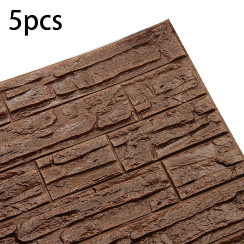 5pcs 3D Wallpaper Faux Stone Brick Wall Sticker Panel Thick PE Foam Decor GOUS