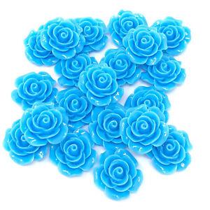 BLEU-20-MM-resine-roses-Flatbacks-Craft-Cardmaking-Rose-embellissements-Pack-de-20