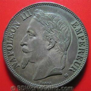 FRANCE-1868-BB-5-FRANCS-SILVER-STRASBOURG-MINT-FRENCH-COLLECTABLE-CROWN-37mm