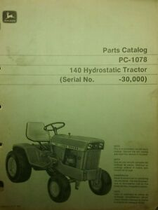 s l300 john deere 140 hydro garden tractor parts manual lawn riding 66pg