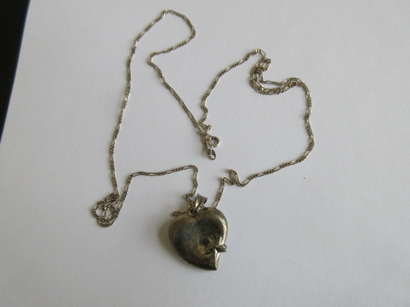 """Ladies Heart Necklace , 28"""" Chain (Italy) , Heart 1"""" x1"""