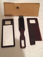 Vintage Men's Vanity Travel Comb & Mirror and brush Set in Case