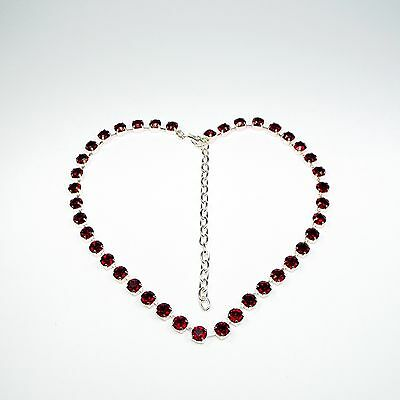 Damen Halskette Collier 925 Silber Versilbert Swarovski Kristalle Rot uni c