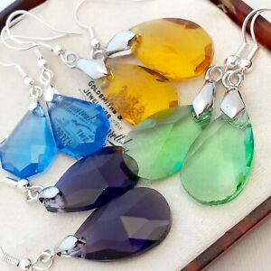 Vintage-Style-4-Pairs-of-Glass-Crystal-Dangle-Earrings-Blue-Green-Orange-Purple