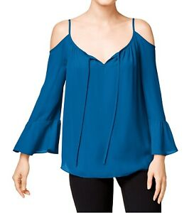 INC-Women-039-s-Bell-Sleeves-Cold-Shoulder-Chiffon-Blouse-4-Caribe-Blue-69