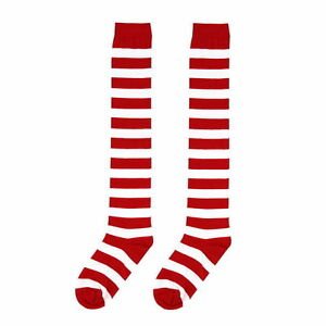 d73525dbeffaa Red White Striped Long Socks Rugby Stripes Over-the-knee Thigh High ...