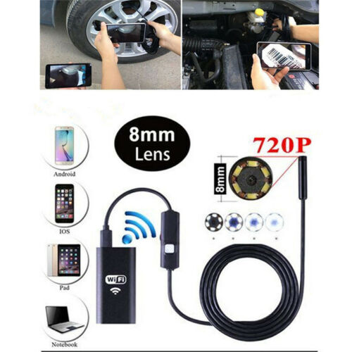 For Android iPhone WIFI Endoscope Waterproof Borescope Inspection Camera 8 ho