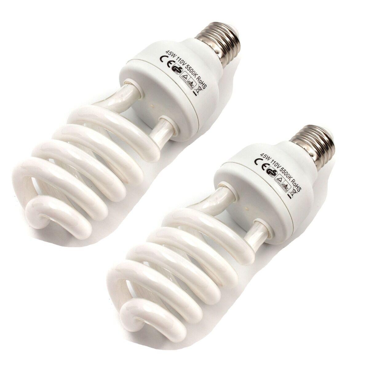 2x 45w 5500k Photo Studio Energy Saving Day Light Bulbs Compact Fluorescent Lamp Ebay