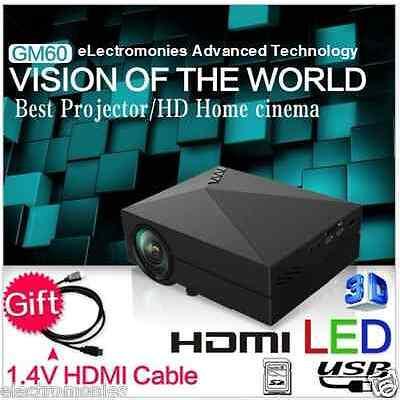 100%ORIGINAL GM60 LED Projector, native 800x480p HDMI,VGA,AV,1200Lumens, 3D, USB