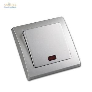 DELPHI Kontroll-Schalter mit LED Lichtschalter Wandschalter Silber ...