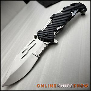Spring TACTICAL Assisted Open Pocket Knife CLEAVER RAZOR FOLDING Silver Blade