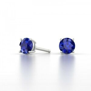 Sterling-Silver-2-1ct-Created-Blue-Sapphire-Stud-6mm-Earrings