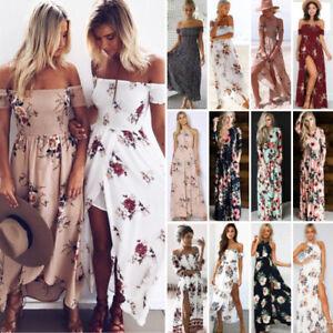 Womens-Maxi-Boho-Dresss-Floral-Summer-Beach-Cocktail-Evening-Party-Long-Sundress