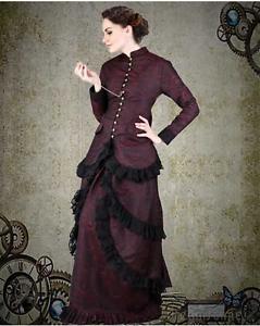 Women S Victorian Steampunk Burgundy Brocade Dinner Dress Costume