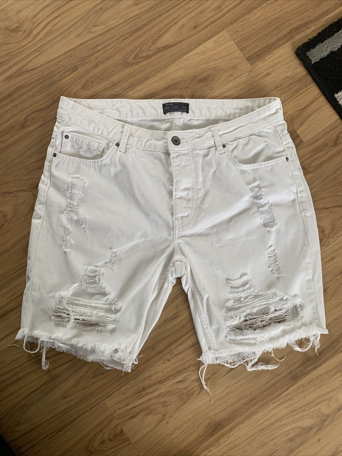 Para Hombre Zara Man Blanco Pantalones cortos de mezclilla Rasgada Talla 34