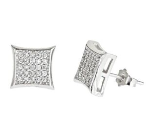 4178c22a5 Details about New Square kite style micro pave with CZ stones 925 Sterling Silver  Stud Earring