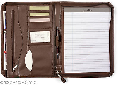 Gemline Deluxe Executive Vintage Brown Leather Zippered Padfolio - New