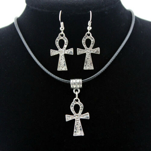 Silver tone ANKH necklace and earring set with cord strap Egypt LIFE cross