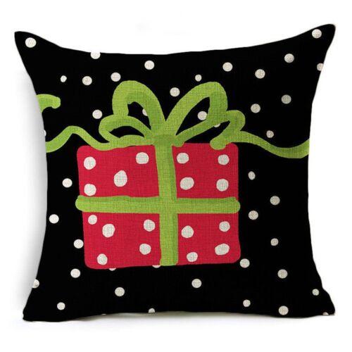 """18/"""" Christmas Cotton Linen Throw Pillow Case Sofa Waist Cushion Cover Home Decor"""