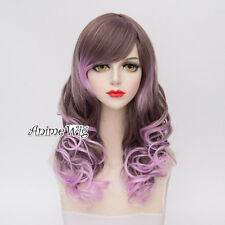 Lolita 50CM Long Brown Mixed Light Purple Curly Hair Fashion Women Cosplay Wig