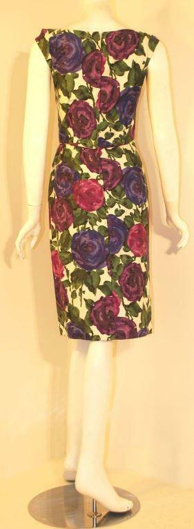 CEIL CHAPMAN 1950s Violet Cotton Floral Print Wig… - image 2