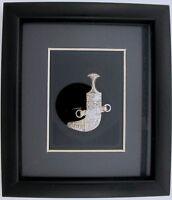 .925 Sterling Silver Saudi Arabia Sword Focal Connector Pendant Black Frame