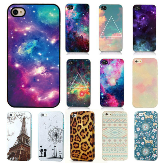 Hard Phone Back Case Cover Galaxy Space Stars Cartoon Pattern for iPhone 4 4S 5S