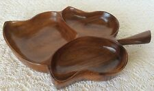 Mid Century Monkey Pod Snack Tray Made in Hawaii For your Tiki Bar No Reserve
