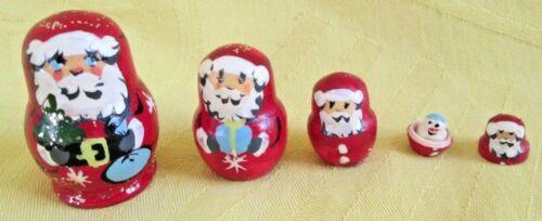 "Santa Russian Traditional Nesting Doll//Hand Made-Micro size//5-pcs Set//1.5/"" tall"