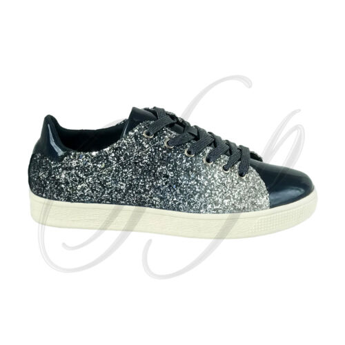 Forever Link Women/'s Lace up Glitter Metallic Sparkly Fashion Sneakers Shoes