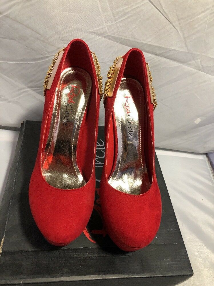 Red Circle Stilettos Platform High Heels Red Faux Leather Size 8.5