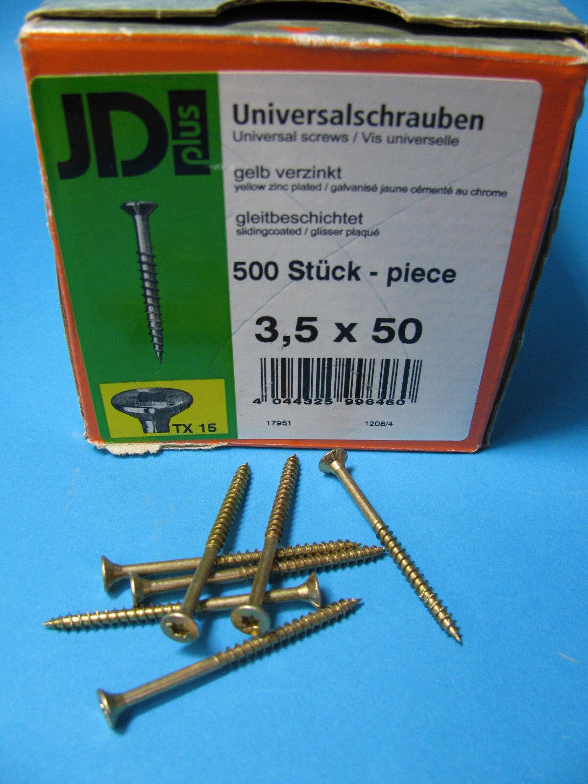 JD Plus Universalschraube Holzschraube gelb verzinkt Senkkopf mit I-Sern 3,5-6mm