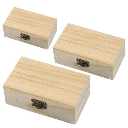 1//3 X Large Small Wooden Boxes Plain Storage Box Chest Keepsake Trunk Case
