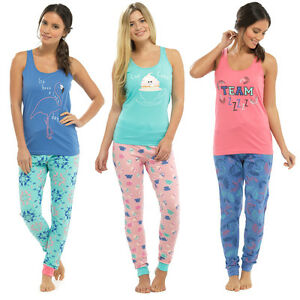 Ladies Character Pj s Full Length Vest Top Leggings Pyjama Set ... 031ee5b4f