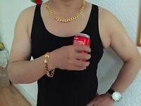 Lifetime Warranty 12mm 18k Gold Plated 24 Necklace & 9 Bracelet, Dad Xmas Gift