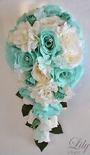 17 Piece Package Silk Flower Wedding Bridal CASCADE Bouquets SPA TIFFANY BLUE