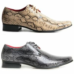 Details zu Mens Lace Up Smart Faux Snake Skin Pointed Toe Shoes Genuine Leather Lining