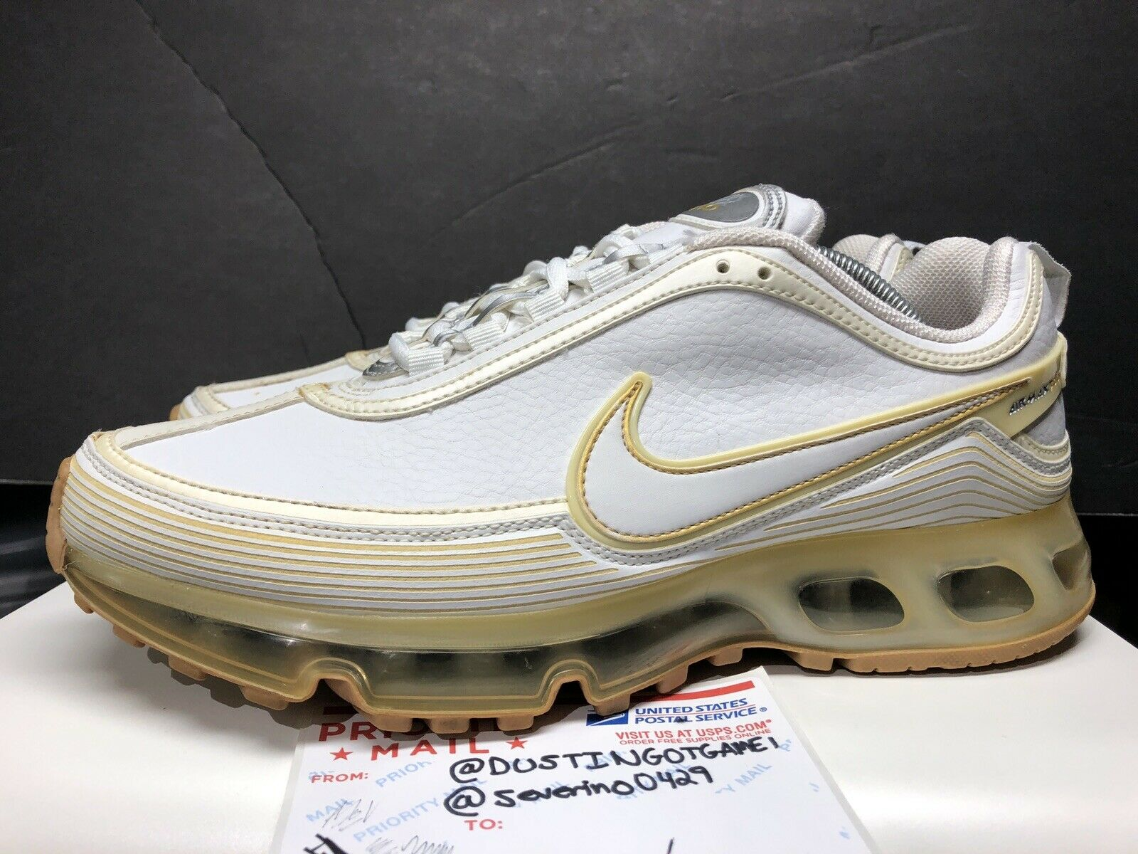 "b73d9613aa52 2007 Nike Air Air Air Max 360 II "" White Metallic gold"" Size 10 Super"