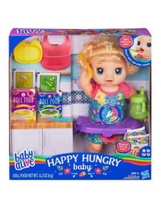 Baby Alive Happy Hungry Baby - Blonde Curly Hair Doll - 50+ Sounds & Phrases