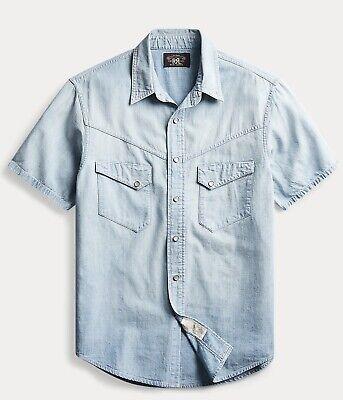 Ralph Lauren Indigo Chambray Button-Front Koi Fish Shirt Slim Fit S /& M NWT $99