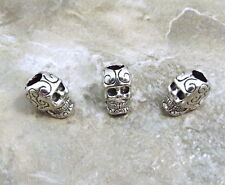 Set of 3 Decorative Sugar Skull Beads with Large Vertical Holes - 3480