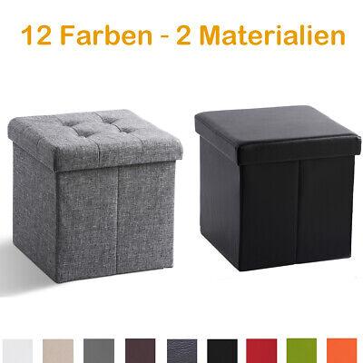Sitzwürfel Ottomane Leinen Sitzhocker Sitzbox Aufbewahrungsbox faltbar 38x38x38