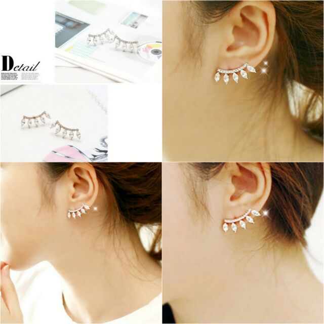 Women Fashion Jewelry Lady Elegant Crystal Rhinestone Ear Stud Earrings 1Pair
