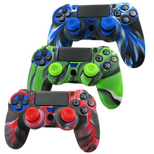 Playstation-4-PS4-Mando-Agarre-en-Silicona-Funda-Carcasa-amp-2-Joystick-Cubierta