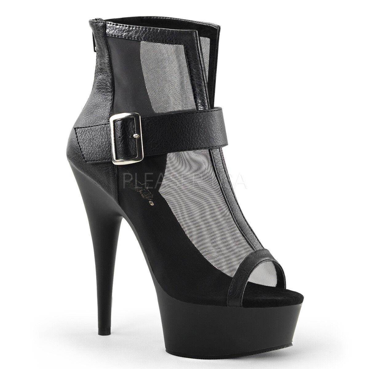 PLEASER - - - Delight-600-23 Sexy Platform Open Toe Mesh Ankle Stiefelie Stiefel 7bc245